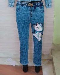 Plain Regular Fit Denim pants for women, Size: XL