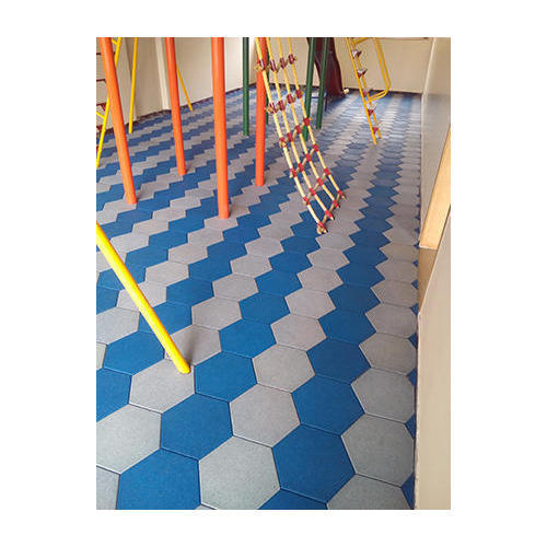 Blue And White Rubber Flooring Tiles Size 500 X 500 Mm Rs 120