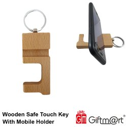 Wooden No Touch Key With Mobile Holder And Key Ring