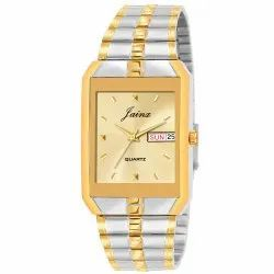 Jainx Golden Dial Day & Date Function Analogue Watch for Men's JM1129