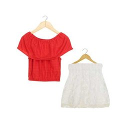 Cotton Blend Casual Wear Kids Crop Top And Pleated Skirts Sets