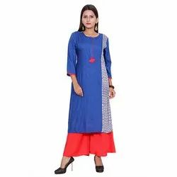 Blue And Red Rayon Kurti