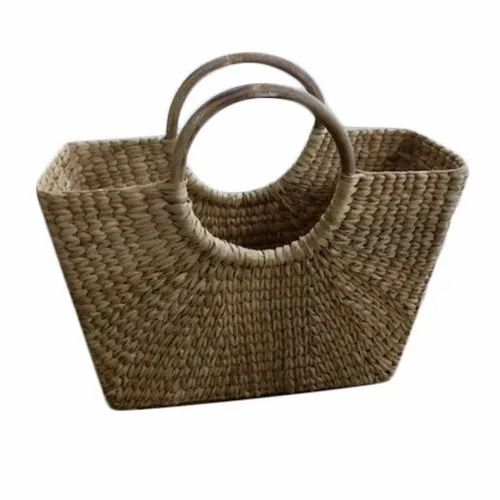 Beige Straw Dry Grass Cane Handle Shopping Basket