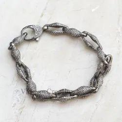 925 Party Wear Pave Diamond Link Chain Clasp Lock Bracelet, Size: 7.5 Inch