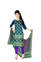 Sea Green And Purple Color Fancy Design Gadhwal Bandhani Dress Material