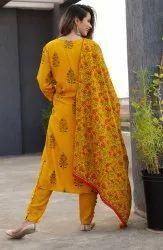 Ladies Yellow Printed Kurti with Bottom