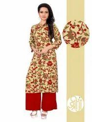 Casual Wear Ladies Printed Cotton Kurti, Size: M