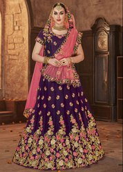Plum Embroidered Silk Lehenga Choli