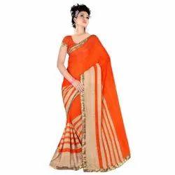 Orange Printed Ladies Designer Silk Saree