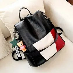 Black,White and Red Plain Stylish Ladies Leather Bag