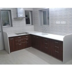 White And Brown Wooden Modular Kitchen Cabinet