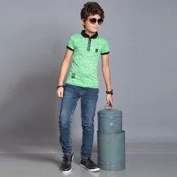 Cotton Half Sleeve Boys Polo Neck T-Shirt, Size: 22 to 34