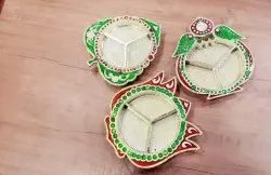 Golden Green Traditional Kankavati Plate, For Pooja