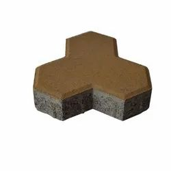 Brown Cement Trihex Paver Block, Thickness: 80 Mm