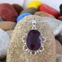 July Birthstone Checker Cut Ruby Gemstone Women Handmade Silver Pendant