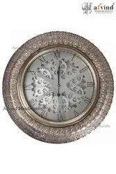 Arvind Handicrafts Digital Iron Wheel Silver Wall Decor Round Clock , Size: 29 Inch