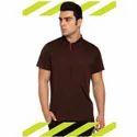 Coffee Bean Hosiery Plain Collar T Shirts, Size: Medium