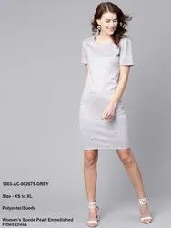 Women's Suede Pearl Embellished Fitted Dress
