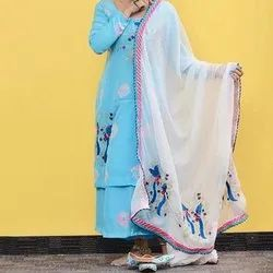 Modern Creations Cotton Ladies Sky Blue Party Wear Suits