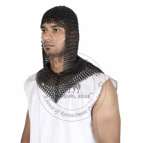 Chainmail Armour Butted Chainmail Hood Black V Neck
