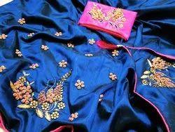 Heavy Party Wear Handwork Sarees 2tone Silk, Dry clean