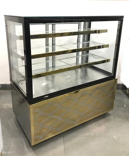 Stainless Steel Rectangular Straight Glass Display Counter, 3 Shelves