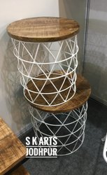 SK ARTS White Iron Wood Round Nesting Table, Size: 18*18*18, for Home