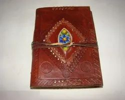 Designer Leather Journal with Beautiful Stone
