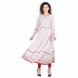 Party Wear White Anarkali Long Women Dress Diwali Collection