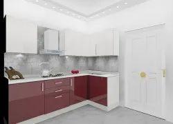v Shape Modular Kitchen