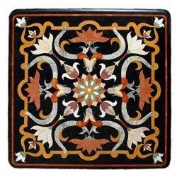 Black Makrana Marble Stone Inlaid Coffee Table Top