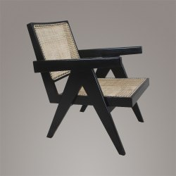 Wooden Antique Pierre Jeanneret Teakwood Easy Chair in Ebony Finish for Home