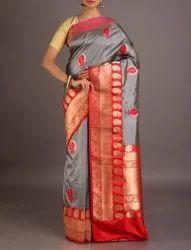 Grey Silk Buy Banarasi Saree Online