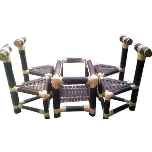Bamboo Coffee Table Triangle Chair Set