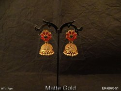 Flower Jhumka Kemp Earrings