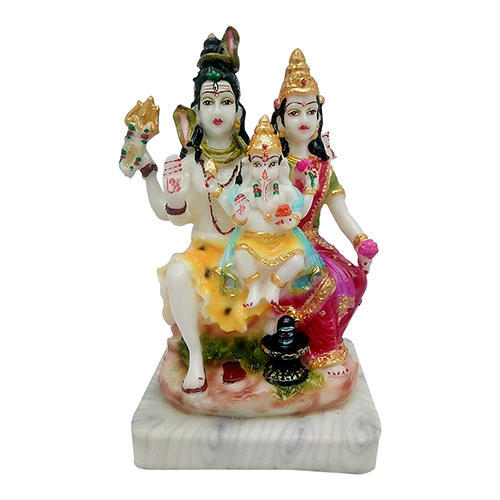 Multicolor Marble Look Lord Shiva Parivar Idol Statue Gift For