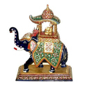 Metal Meenakari Ambabari Elephant Statue