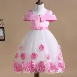 Charming Pink Floral Applique Dress