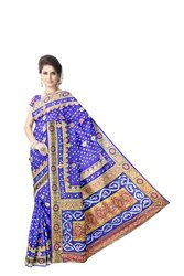 All Over Blue Color Fancy Design Work Art Silk Bandhani Saree