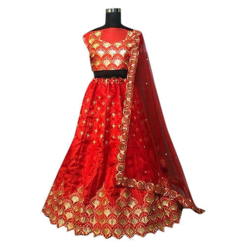 8e8541e192 Ladies Red And Golden Designer Semi-Stitched Lehenga Choli, Rs 950 ...