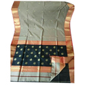 Grey Maheshwari Handloom Cotton Silk Saree, Length: 6.20 m