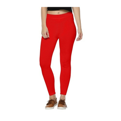 9dabad1aeed8e Cotton Straight Fit Red Zipper Legging, Size: 28 - 36