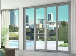 White Residential UPVC Sliding Doors, Thickness Of Glass: 5mm Clear