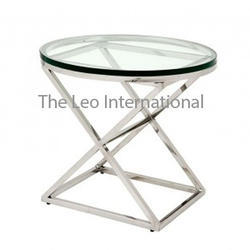 Decorative Stainless Steel Table With Glass Top