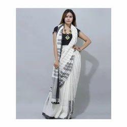 Handloom Cotton White Black Stripe Saree