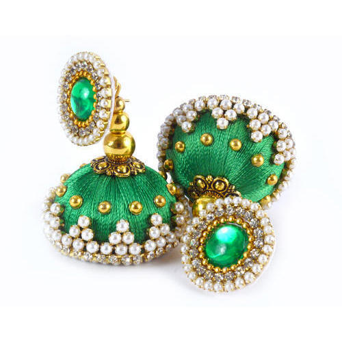 ec7fb163c Handmadewale Green Ladies Beaded Designer Silk Thread Earrings, Shape:  Jhumki -Circle Shape