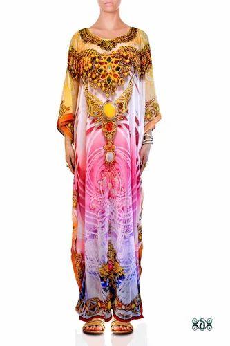 3e9da067de09 Devarshy 3/4th Sleeves Crystals Embellished Printed Long Kaftan, Rs ...