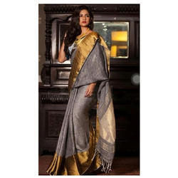 Formal Wear Traditional Linen Saree For Ladies, 6.3 M (with Blouse Piece)