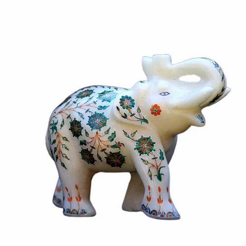 Jagdamba Marble Handicraft White Inlay Elephant Home Decorations Size Dimension N