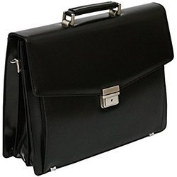 Men Black Leather Laptop Bag
